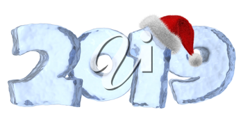 2019 Happy New Year sign text written with numbers made of clear blue ice with Santa Claus fluffy red hat, winter icy symbol 3d illustration isolated on white