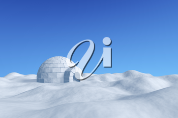 Winter north polar snowy landscape - eskimo house igloo icehouse made with white snow on the surface of snow field under cold north clear blue sky 3d illustration