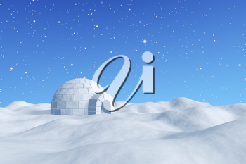 Winter north polar snowy landscape - eskimo house igloo icehouse made with white snow on surface of snow field under cold north blue sky under snowfall 3d illustration