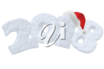 2018 New Year sign text written with numbers made of snow with Santa Claus fluffy red hat, New Year 2018 winter snow symbol 3d illustration isolated on white
