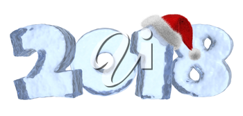 2018 Happy New Year sign text written with numbers made of clear blue ice with Santa Claus fluffy red hat, new year 2018 winter icy symbol 3d illustration isolated on white