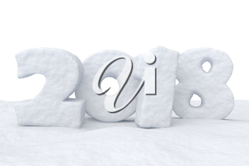 New Year 2018 text written with numbers made of snow on the snow surface, Happy New Year 2018 winter snow symbol 3d illustration isolated on white