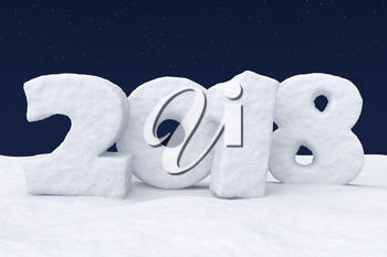 New Year 2018 text written with numbers made of snow on the snowy field at night under cold north clear night sky with bright stars, 2018 year winter snow symbol 3d illustration.