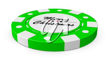Merry Christmas gamble green casino chip with sign on white background 3D illustration