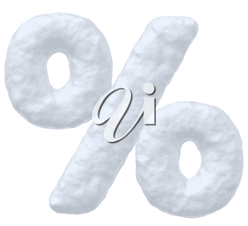 Abstract creative snowy winter decoration element -  snow sign of percent simbol isolated on white background, 3d illustration