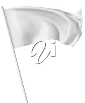White flag on flagpole flying and waving in the wind isolated on white, 3d illustration