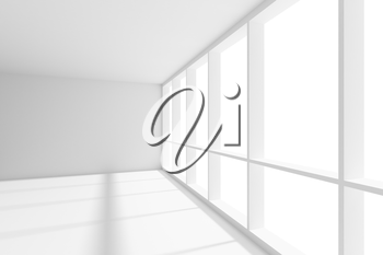 Business architecture white colorless office room interior - big window in empty white business office room with white floor, ceiling and walls and sunlight, 3d illustration