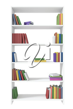 White bookcase with many different color books on bookshelves isolated on white under direct light, 3D illustration