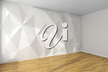 Empty white room corner interior with wall with rumpled triangular geometric surface with sunlight from window, with wooden parquet floor and ceiling, 3d illustration
