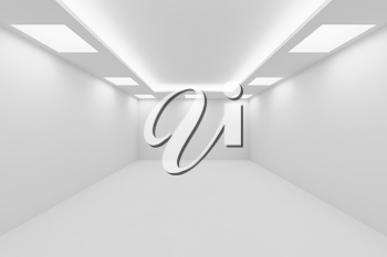 Abstract architecture white room interior - empty white room with white wall, white floor, white ceiling with square ceiling lamps and hidden ceiling lights perspective view, 3d illustration