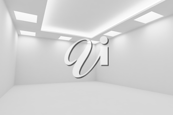 Abstract architecture white room interior - empty white room with white wall, white floor, white ceiling with square ceiling lamps and hidden ceiling lights diagonal view, 3d illustration