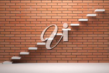 Business rise, forward achievement, progress way, success and hope creative concept - Ascending stairs of rising staircase in empty room with red brick wall with light, 3d illustration
