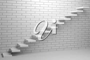 Business rise, forward achievement, progress way, success and hope creative concept - Ascending stairs of rising staircase in empty room with white bricks wall with light, 3d illustration