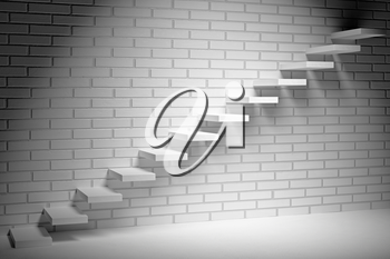 Business rise, forward achievement, progress way, success and hope creative concept - Ascending stairs of rising staircase in dark empty room with white bricks wall with spot light, 3d illustration