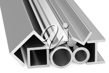 Metallurgical industry products - group of rolled steel metal products (pipes, girders, bars, profiles, balks and armature) on white industrial 3D illustration