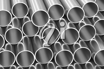 Metallurgical industry production and non-ferrous industrial products abstract illustration - many stainless metal shiny steel pipes, industrial background, 3D illustration