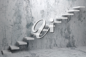 Business rise, forward achievement, progress way, success and hope creative concept: Ascending stairs of rising staircase in dark rough empty room 3d illustration