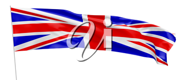 National flag of United Kingdom of Great Britain with flagpole flying and waving in the wind isolated on white, long flag, 3d illustration