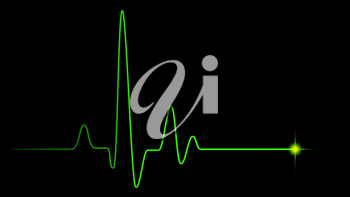 Green heart pulse graphic line on black, healthcare medical background with heart cardiogram, cardiology concept pulse rate diagram illustration