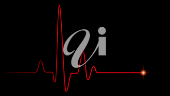 Red heart pulse graphic line on black, healthcare medical background with heart cardiogram, cardiology concept pulse rate diagram illustration