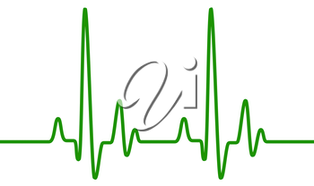 Green heart pulse graphic line on white, healthcare medical sign with heart cardiogram. Cardiology concept pulse rate diagram illustration.