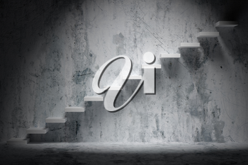 Business rise, forward achievement, progress way, success and hope creative concept: Ascending stairs of rising staircase in rough dark empty room with spot light with concrete floor and wall 3d illustration