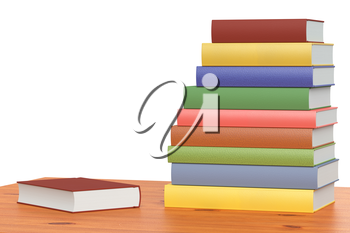 Wooden bookshelf with stack of colored books, isolated on white, 3D illustration, closeup view