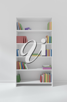 White bookcase on colorless floor about wall with many different color books on bookshelves, 3D illustration