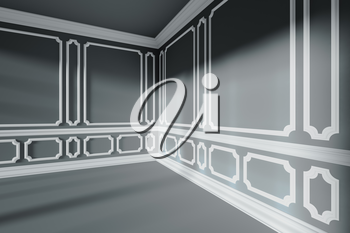 Black empty room cornerinterior with sunlight from window, with white decorative classic style molding frames on walls, with flat ceiling, floor and baseboard, 3d illustration