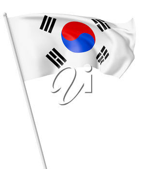 Small national flag of South Korea republic with flagpole flying and waving in the wind isolated on white, 3d illustration