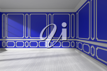 Empty blue room interior with sunlight from window, decorative classic style molding frames on walls, white wooden parquet floor and white baseboard, 3d illustration