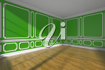 Green empty room interior with sunlight from window, white decorative classic style molding on walls, wooden parquet floor and white baseboard, 3d illustration, wide angle