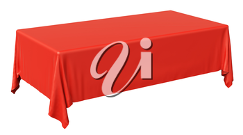 Red rectangular tablecloth isolated on white, diagonal view, 3d illustration