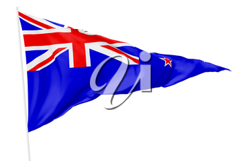 Triangular national flag New Zealand with flagpole flying in the wind isolated on white, 3d illustration