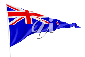 New Zealand triangular national flag with flagpole flying in the wind isolated on white, 3d illustration
