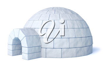 Igloo icehouse on isolated white background three-dimensional illustration