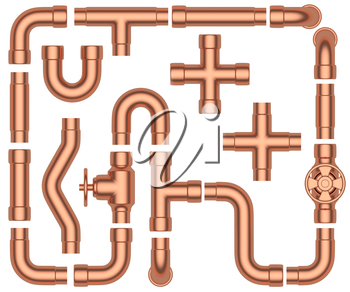 Copper pipeline construction details set: copper pipes, valves, tubes, fittings, couplers and other copper pipeline elements collection isolated on white background, industrial 3d illustration