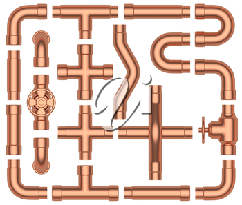 Copper pipeline construction details collection: copper pipes, valves, tubes, fittings, couplers and other copper pipeline elements set isolated on white background, industrial 3d illustration