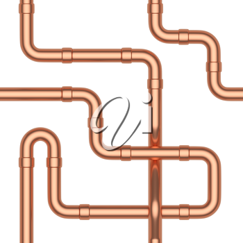 Abstract industrial construction seamless background: copper pipes and other copper pipeline elements isolated on white, industrial 3d illustration