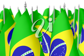 Many small flags of Federative Republic of Brazil isolated on white background, 3d illustration, selective focus, shallow depth of field