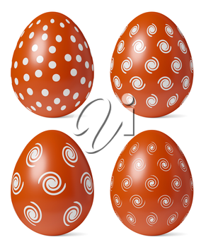 Red Easter eggs painted with white simple decor whith shadows isolated on white background, Easter eggs set, easter symbol, 3D illustration