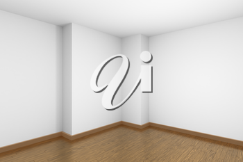 Empty room corner with white walls and ceiling, brown wood parquet floor and soft light, simple minimalist interior architecture background with copy-space, 3d illustration.