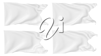 White flag with angle flying and waving in the wind isolated on white, white flag set 3D illustration