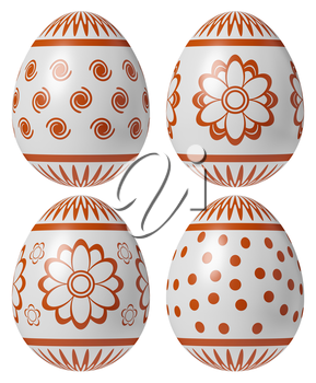 Set of White Easter eggs painted with red simple decor isolated on white background, easter symbol, 3D illustration