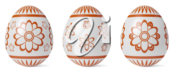 White Easter eggs with shadow painted with red simple decor isolated on white background, Easter eggs set, easter symbol, 3D illustration