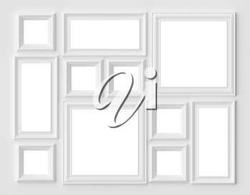 White blank picture or photo frames on the white wall with shadows with copy-space, white colorless picture frames template set, art frame mock-up 3D illustration