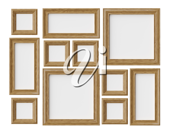 Wood blank photo or picture frames isolated on white with shadows, decorative wooden picture frames template set, art frame mock-up 3D illustration