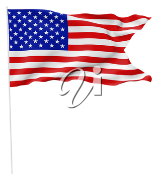 National flag of United States of America with stars and stripes with flagpole with angle flying and waving in wind isolated on white, 3d illustration.