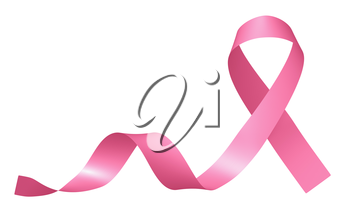 Realistic pink ribbon of breast cancer awareness campaign in october month isolated on white, creative 3D illustration