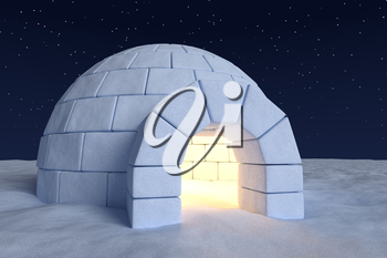 Winter north polar snowy landscape: closeup view of eskimo house igloo icehouse with warm light inside made with snow at night on the surface of snow field under cold night north sky with bright stars